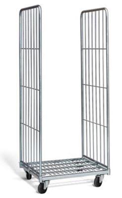 Rullcontainer, HxLxB 1800x720x800 mm, med 2 väggar, max 400 kg