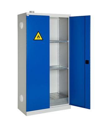 Miljöskåp med uppsamlingstråg och ventilation.