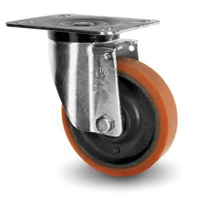 Industrihjul, stål/polyuretan Ø 125x30 mm, länkhjul