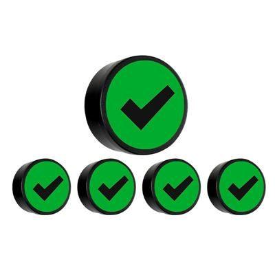 Magnet, grön, check, D 35 mm, 10 st/fp