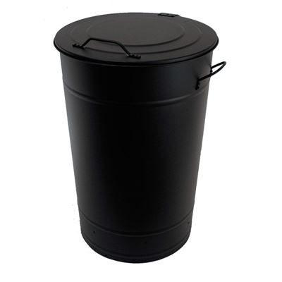 Soptunna av plåt, 115 l, H 780 mm, svart