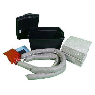 Spillkit i plastlåda, 50-liter, universal inomhus, grå