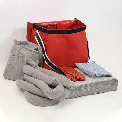 Spillkit i väska, 75-liter, universal inomhus, grå