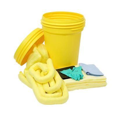Spillkit i säkerhetstunna, 100-liter, kem, gul