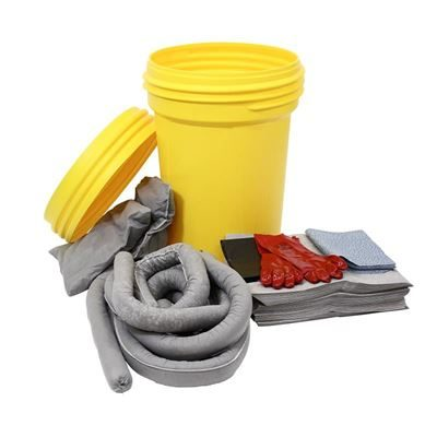 Spillkit i säkerhetstunna, 100-liter, universal, grå, 5 st eller fler